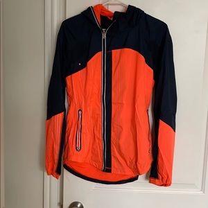 Lulu navy and orange get up and glow jacket